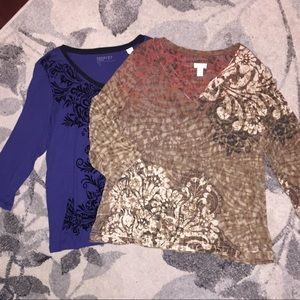 💚 2/$15 💚 (2) Chico's Long Sleeve Tops
